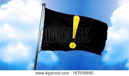 Hazard warning sign flag, 3D rendering