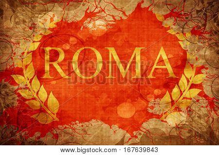 Vintage roma laurel wreath flag