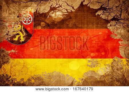 Vintage Rhineland Platinate, Rheinland Pfalz flag
