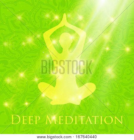 Meditating In Crossed-legged Yoga Lotus Pose Woman