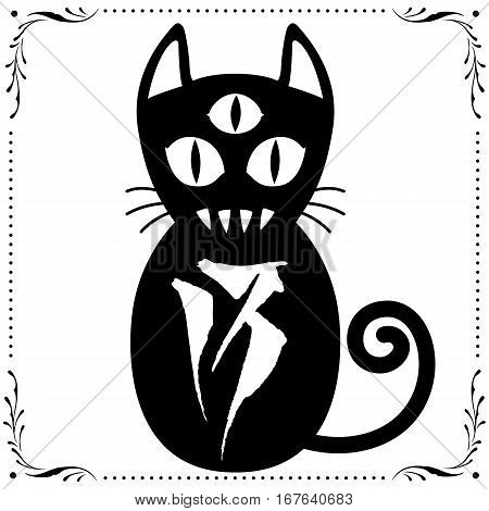 007 3Rd Eyed Cat No. 13 With Floral Frame.eps