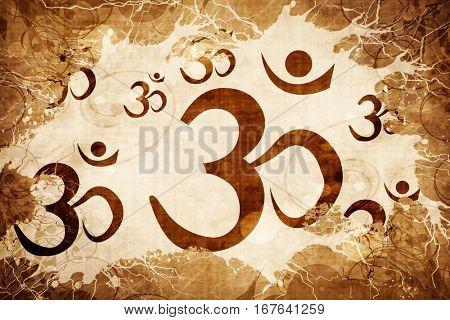 Grunge vintage Om / aum symbol