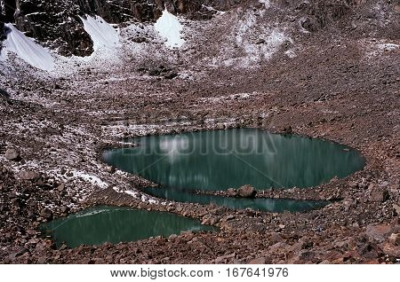 Sacred lake Gauri Kund at Drolma La pass in Tibet on altitude at 5500 m above sea level. poster