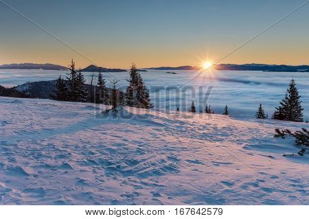 Amazing Mountain Sunrise Above Inversion Low Clouds