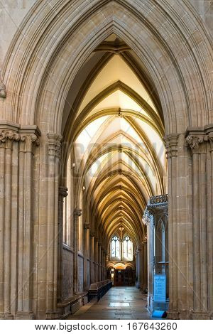 Wells United Kingdom - August 6 2016: Inside the Wells cathedral