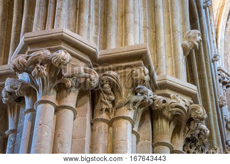 Wells United Kingdom - August 6 2016: Column capital carvings inside Well cathedral