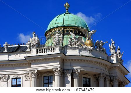 Detail of Hofburg palace, former imperial palace in the center of Vienna, Austria