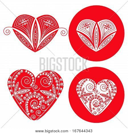 Valentines red hearts set of four objects.. Vector illustration