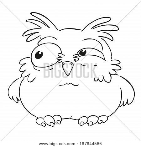 Funny cartoon character owl. Ruffled owl. Vector isolated coloring book. Contour on a white background.
