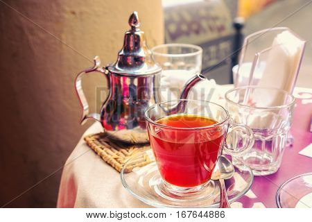 red herbal tea table bar table background breakfast