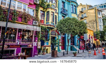 Sultanahmet, Turkey - December 15, 2012: Cafes and bars and restaurants in Sultanahmet district in Istanbul