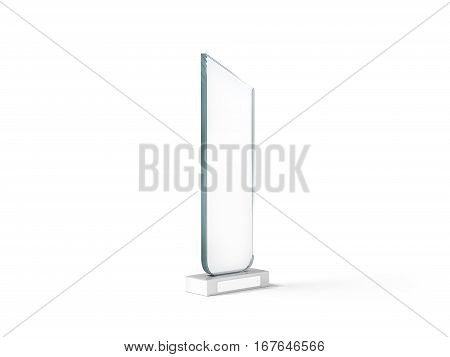 Blank tall glass trophy mockup 3d rendering. Empty acrylic award design mock up. Transparent crystal prize plate template. Premium first place prise plaque isolated on white.