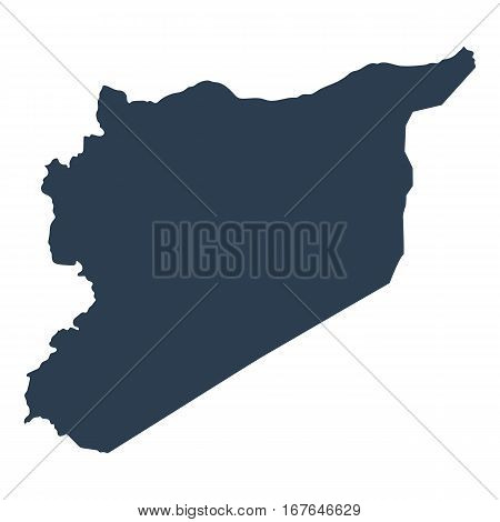 Map Syria geographical political on a white background closeup vector