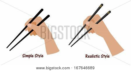 Hand holding the chopstick on transparent background. Easy to use for grabing everything that you want to present