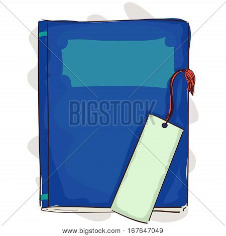 Vector Illustration of Blue Book with Bookmark