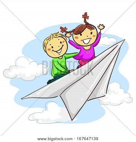 Vector Illustration of Stick Kids riding Paper Plane