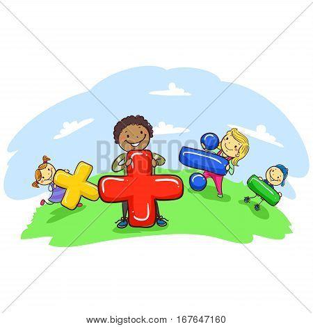 Vector Illustration of Stick Kids Holding Mathematical Symbol