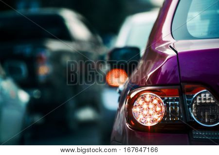 Car Stuck in bad traffic jam when rush hour selective focused.