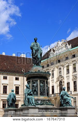 Monument at Hofburg palace courtyard, a former imperial palace in the center of Vienna, Austria