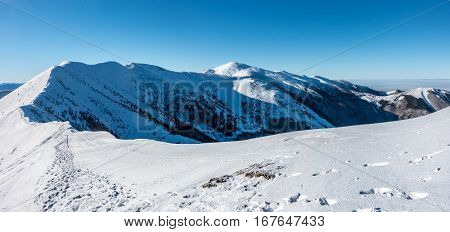 Winter Mountains Under Blue Sky In Little Fatra, Slovakia