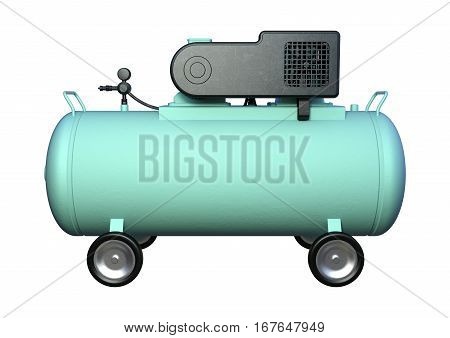 3D rendering of an air compressor isolated on white background