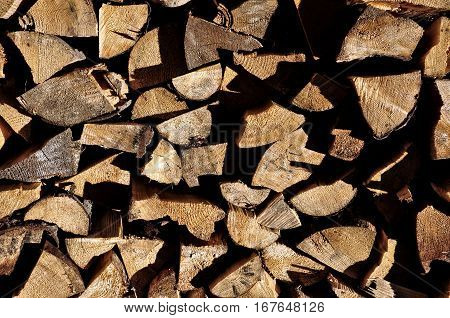 Stacked Firewood. Natural Background Pattern