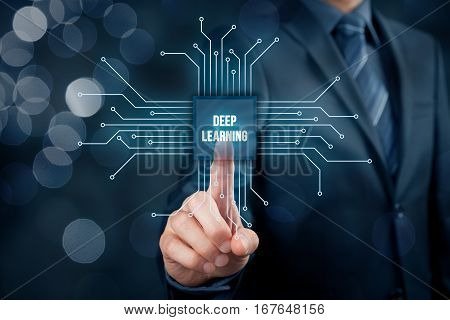 Deep structured learning concept - learning methods based on learning representations of data. Businessman or programmer with abstract symbol of a chip with text deep learning connected with data represented