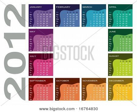 Colorful calendar 2012 (English, Sunday first)
