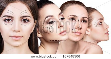 Four woman's faces with lifting arrows over white background.