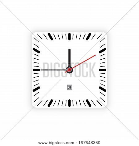 Vector image of minimalistic clock dial white with black ticks time, isolated on background.