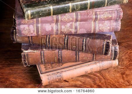 Stack Of Antique Books Backs