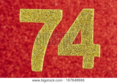 Number seventy-four yellow color over a red background. Anniversary. Horizontal