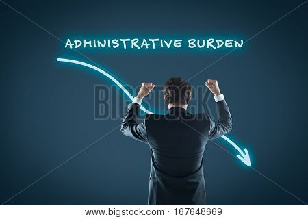 Administrative burden reduction concept. Businessman celebrate administrative burden reduction.