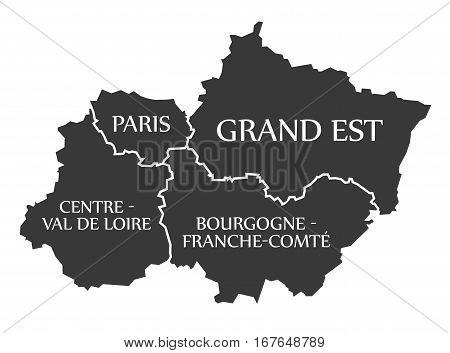 Paris - Grand Est - Centre - Val De Loire - Bourgogne Map France
