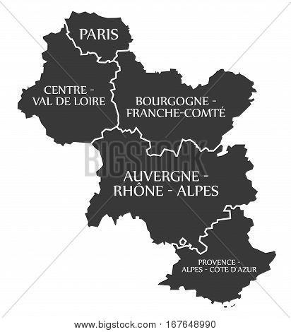 Paris - Centre - Bourgogne - Auvergne - Provence Map France