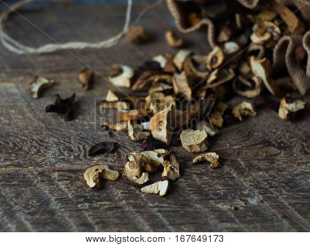 Dried Mushrooms close up on Wooden table.