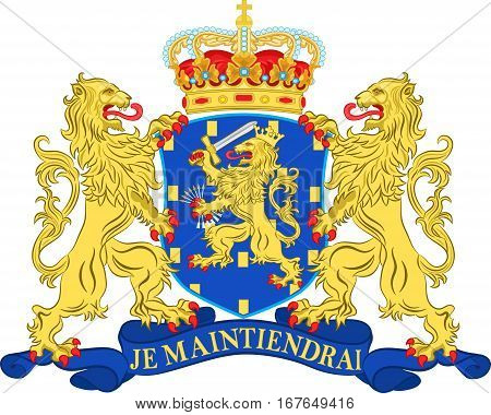 Coat of arms of Netherlands or Kingdom of the Netherlands. 3d illustration