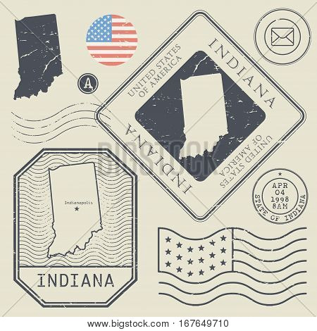 Retro vintage postage stamps set Indiana United States theme vector illustration