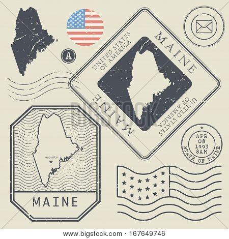 Retro vintage postage stamps set Maine United States theme vector illustration