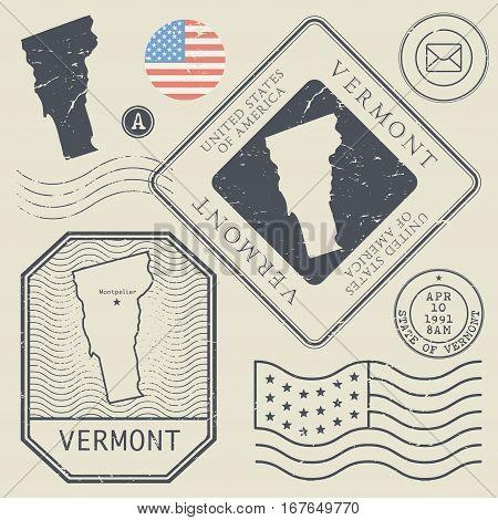 Retro vintage postage stamps set Vermont United States theme vector illustration