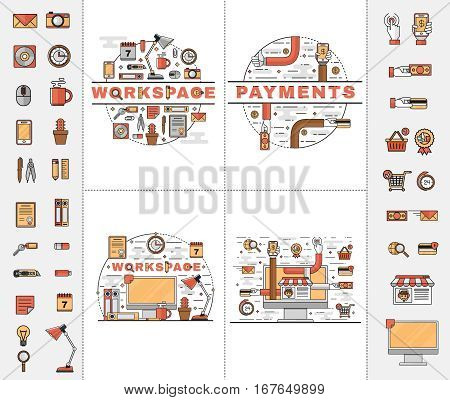 Set of vector line art flat icons of elements of the personal workplace, safe and convenient electronic payments and online purchases