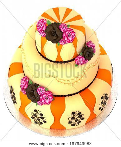 Three tier cake with 3 layer decorated chocolate rose and flowers. Top view. Birthday or wedding tired pie orange and yellow slice for event or holidays on white background. Sweet food on dish.