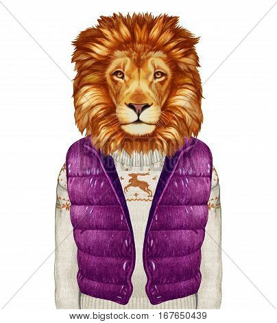 Animals as a human. Lion in down vest and sweater. Hand-drawn illustration, digitally colored.