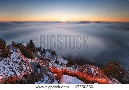 Sun mountain landcape above clouds nice nature