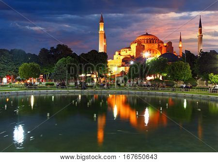 Hagia Sofia on a sunset Istanbul in Turket
