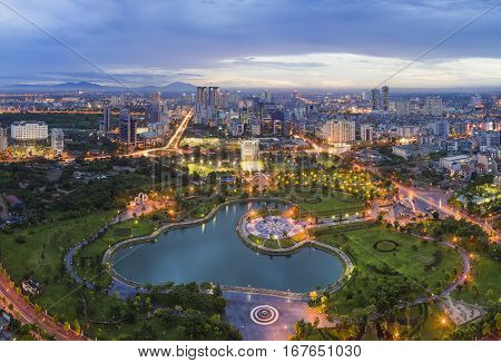 Hanoi Skyline Cityscape At Twilight Period. Cau Giay Park, West Of Hanoi