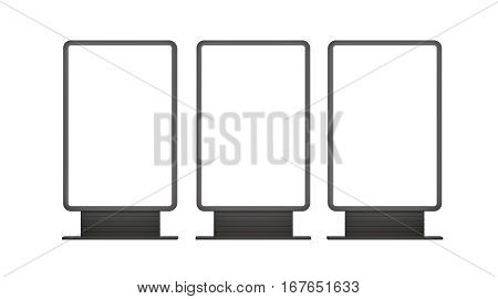 Vertical blank outdoor Lightboxes. Isolated on white. 3D illustration