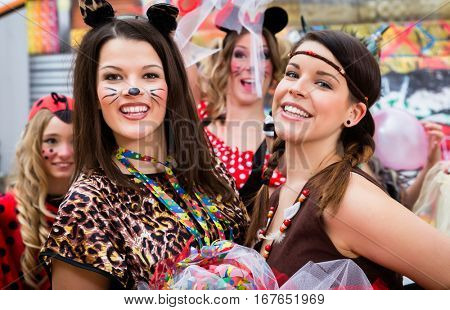 Girls on Rose Monday celebrating German Fasching Carnival