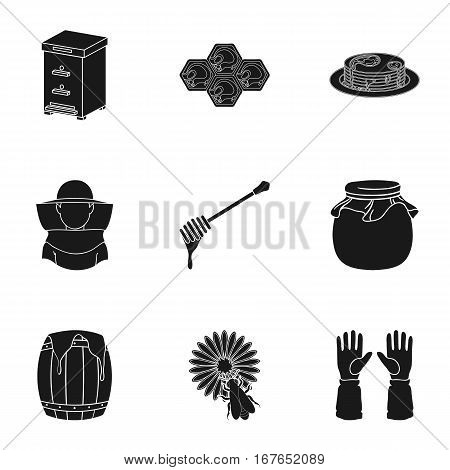 Apiary set icons in black style. Big collection of apiary vector symbol stock
