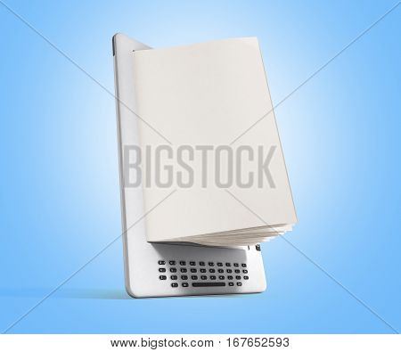 Blank E-book Reader 3D Render Image On Blue Gradient
